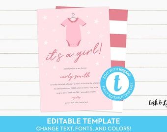 Pink Baby Shower Invitation - It's a Girl Shower Invitation - Templett - Shower Invitation Template - Printable Baby Shower Invitation