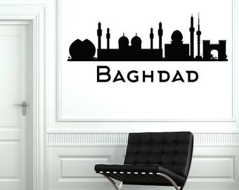 Wall Vinyl Decal City Country Silhouette Sights Baghdad Living Room Decor (#2729dn)