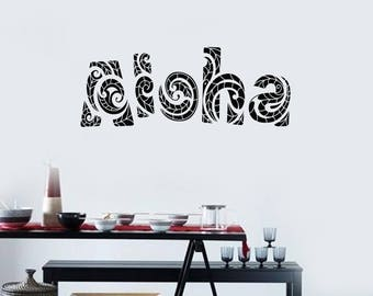 Aloha Vinyl Wall Decal Greeting Hawaiian Word Hawaii Stickers Mural (#2582di)