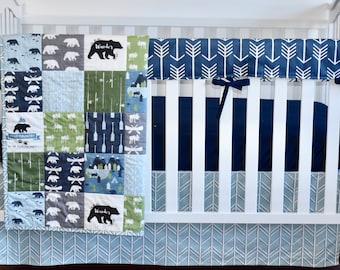 Bear country, modern nursery, modern quilt, woodland, boy nursery, hunting, indigo, spa blue, charcoal, minky quilt