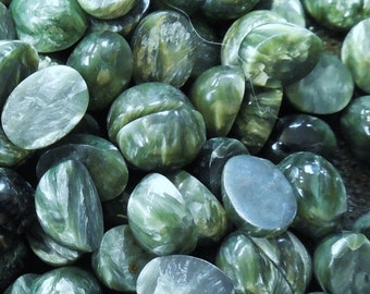 Powerfull Metaphysical Russian Serafinite set of  6 cabochons size 6 x 8  mm Weight 8 ct