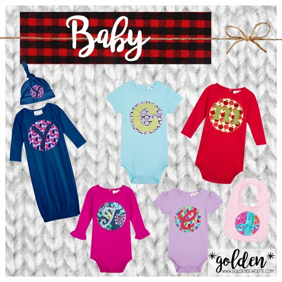 CYBER MONDAY 2017 SALE!  Baby, Infant Applique Initial or Number Short or Long Sleeve Onesie, Bib, Hat, Gown, Custom, Personalized, Initial