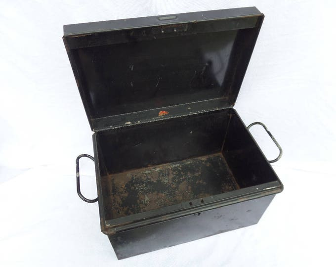 """Strong Box, Industrial Black Metal Storage Box, W.F.H. Clerkenwell, 19th Century, Made in England, Rustic Aged Patina, 14.25"""" x 10"""" x 8.75"""""""