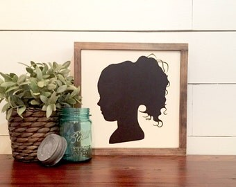 Child's Silhouette Profile Rustic Wood Sign