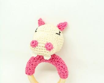 Hochet Hippopotame  pour bébé / hochet au crochet / hochet fait main / anneau de dentition / jouet bébé / cadeau de naissance / cadeau bébé