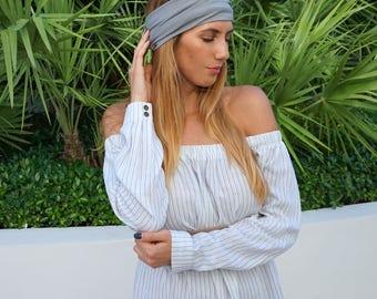 Yoga Headband / Gray Yoga Headband / Workout Running Headband / Boho Wide Headband / Womens Headbands / Boho Headband / Hippie Headband