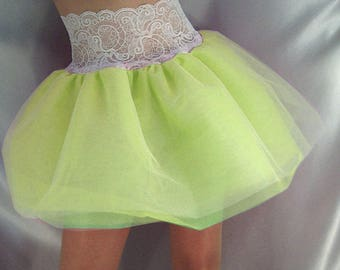 Lace top tutu skirt white top neon yellow net