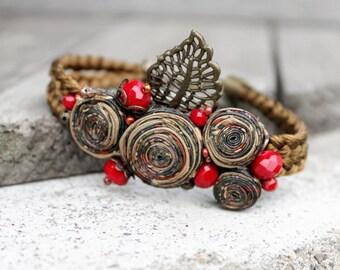 Boho beaded bracelet Birthday gift ideas|for|her Gift for friend Charm bracelet|for|women Brown bracelet Adjustable bracelet Textile jewelry