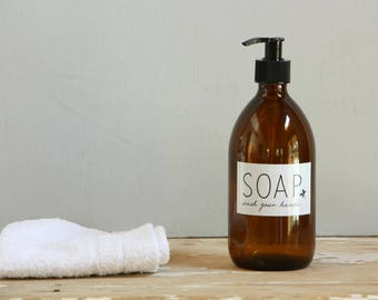 Small brown bottle etsy for Brown glass bathroom accessories