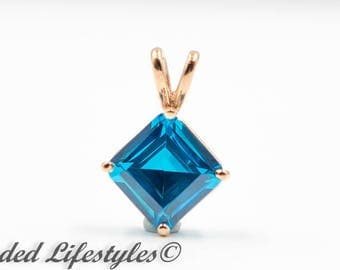 Easter Gift 14 Karat Rose Gold Blue Zircon Pendant Necklace
