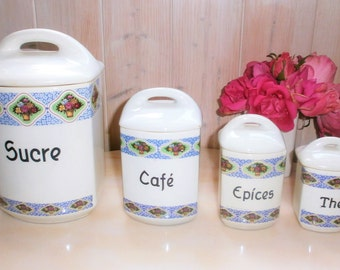 Art Deco 4 Spice jars / / Bohemian Canisters / / Art Deco spice jars 4 / / Faience Czechoslovakia / / Czechoslovakia earthenware / / train Kitchen