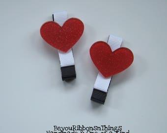 Red Hearts | Hair Clip for Girls | Toddler Barrette | Baby | Kids Hair Accessories | Grosgrain Ribbon | Flatback | No Slip Grip