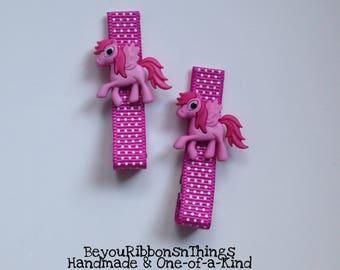 Pink Ponies Hair Clips for Girls Toddler Barrette Kids Hair Accessories Grosgrain Ribbon No Slip Grip