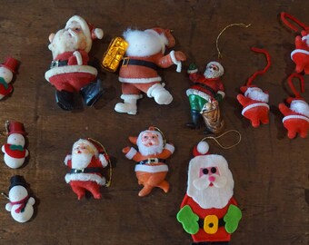 Collection of Vintage Flocked Santas and Snowmen/16 Ornaments/ Craft Projects/ Tree Decorations/