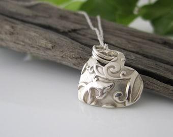 Handmade Silver Baroque Pendant | Silver Heart Shaped Pendant | Heart Necklace | Solid Silver Baroque Pattern Necklace | Silver Pendant