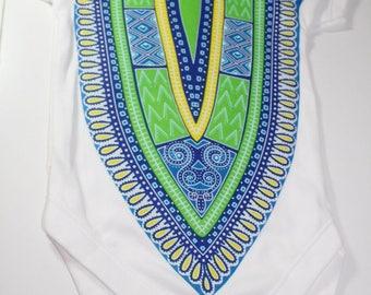 Dashiki baby onesie african print bodysuit-Bleu