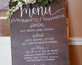 Wedding or Event Menu Board || Hand Lettering and Calligraphy || Dark Walnut wood