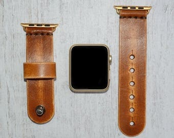 Genuine Leather apple watch band 38mm / 42mm // apple watch accessories - leather apple watch strap - iwatch band leather - lugs adapter