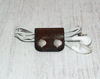 Brown Leather Cord Holder // Leather Headphone Holder - Leather Cable Organizer - Cord Organizer - Headphone Case - Earbud Holder