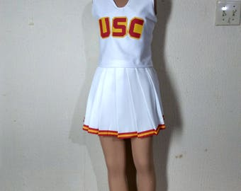 New Version USC White Cheerleader Uniform Football Game Halloween Costume Top & Skirt
