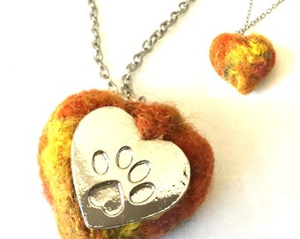 Rustic Felted Heart Pendant, Needle felted Paw Print Pendant, Pet Lovers Gift, Unique Hand Felted Heart Pendant, Designer Pendant Gift