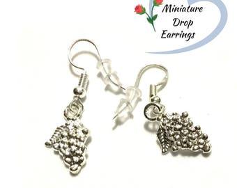 Tiny Grape Earrings, Miniature Silver Drop  Earrings, Grape Drop Earrings, Appreciation gift, Every day Wear earrings, Free Local Shipping