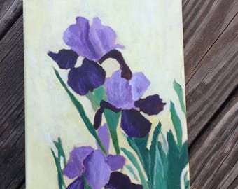 Iris, original 8x10 acrylic painting of poppies