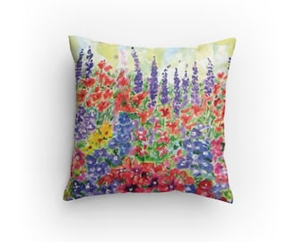 Floral Pillow, Decorative Pillow, 14 x 14 inch, Home Decor, Garden Pillow, Throw Pillow