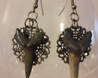 Fossil shark tooth filigree dangle earrings