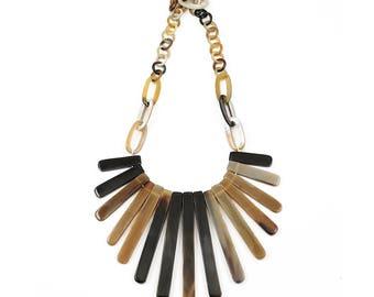 Genuine Natural Horn Tribal Link Statement Necklace