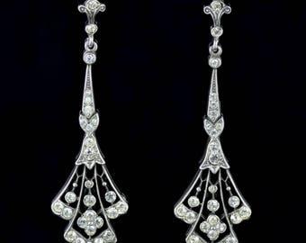 Antique Victorian Long Silver Paste Drop Earrings Circa 1900