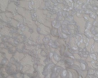 Gray lace fabric, French lace, Chantilly lace, Wedding lace, Bridal lace, Evening dress lace, Lingerie lace, fabric by the yard
