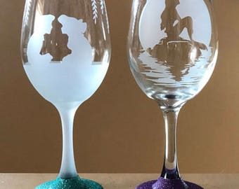 Little Mermaid etched wine glass