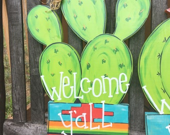 Cactus Welcome Sign Prickly Pear