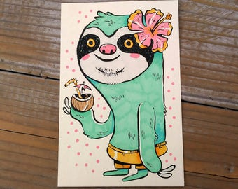 "Original Unframed 4x6"" Ink and Marker Drawing - Tropical Sloth"