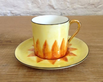 Vintage Brightly Coloured Orange & Yellow China Demitasse / Espresso Cup and Saucer - In Good Condition