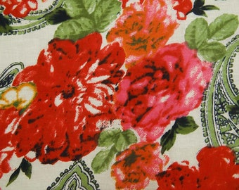 """Designer Fabric, Floral Print, Beige Fabric, Ethnic Fabric, Quilting Cotton, 46"""" Inch Cotton Fabric By The Yard ZBC7880B"""