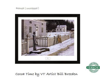 Framed Matted Winter Art Print, Cocoa Time by Bill Breedon, Snow Sleds Fence, Christmas, Snow Scene, Sledding, Sliding, New England, Country