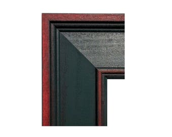 Wide GREEN & CHERRY Picture Frame, Hunter Cherry Photo Frame, Christmas Picture Frame, Primitive,5x7, 8x10, 11x14,16x20, 20x24, 24x30. 24x36