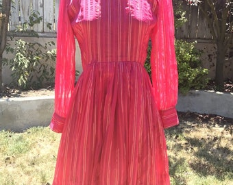 Vintage 1970s Hot PINK & GOLD Glitter Striped Party Dress XS/S