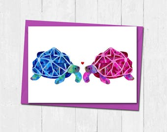 Tortoise valentines day card, Personalised tortoise love card, Anniversary tortoise card, Husband wife love card, Cute valentines card