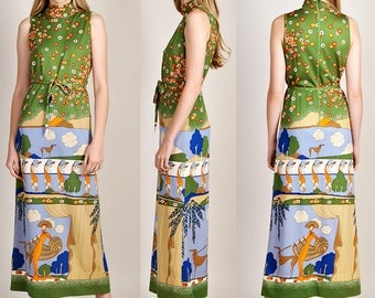 1970s Goldworm Art Deco Hound Lady Dress Made in Italy Maxi Dress stunning H6