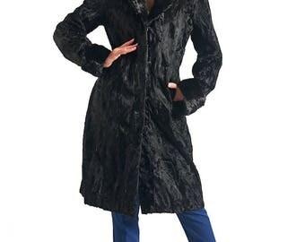 Luxury gift/Black Persian Lamb Coat with Mink Collar & Cuffs/Gail