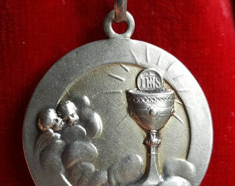Antique Spanish Engraved Silver First Communion Medal Pendant Art Nouveau Engraved  April 8 1915 Catholic Jewelry Religious Jewelry