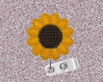 Sunflower, ID Badge Reel, Fall Flower, Retractable Badge Holder, Badge Reel, Badge Clip, Nurse Gift, Cute Badge Reel, Felt Badge Reel