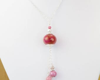 """Jan"" silver plated necklace with rhodochrosite and ceramic"