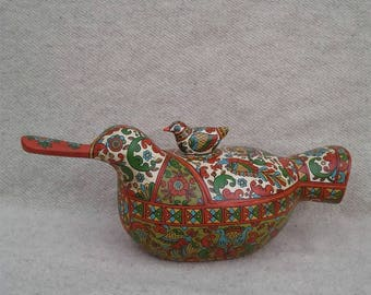 """Russian folk art.Large jewelry box.Wooden Jewellery Box in the form of a """"Duck""""Vintage style.Hand made wooden scoop. Home decor."""