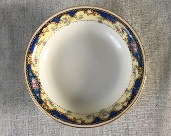 Vintage Epiage Union K Czechoslovakia Blue and Pink Roses Sauce or Dessert Bowl