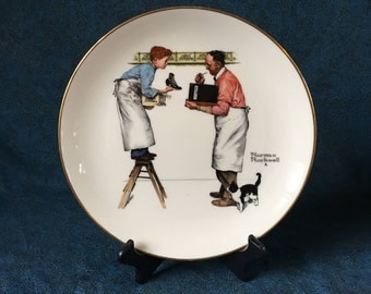 Vintage Gorham Norman Rockwell 1979 Collectors Plate, Winter Year End Count, Four Seasons Series