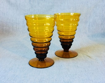 Vintage Amber Glass Ribbed Ice Cream Sundae Glasses, Set of 2, Soda Fountain Parfait Glass